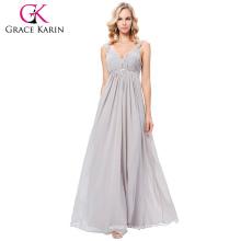 Grace Karin 2017 nuevo vestido de baile de fin de curso de la dama de honor del partido del vestido de bola de la tarde larga gris formal Tamaño de archivo 4-16 GK000129-3