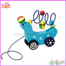 2014 en bois Ludique Pull & Push Toy pour les enfants, jouet éducatif Pull pour les enfants, jouet en bois tirer le long de bébé jouet pour bébé W05b037