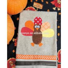 Acción de gracias cartton pavo toalla de mano 100% algodón