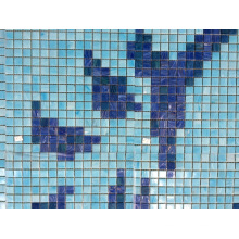 Flower Pattern Swimming Pool Bali Style Blue Swimming Pool Tile Melting Glass Mosaic