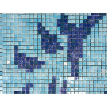 Blumenmuster Schwimmbad Bali Stil Blau Schwimmbad Fliesen Schmelzen Glas Mosaik
