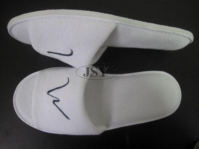 Brushed White Hotel Velvet  Slipper