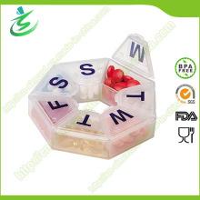 Boîte de pilule ronde semestrielle en plastique, étui de pilule Medcine de 7 jours