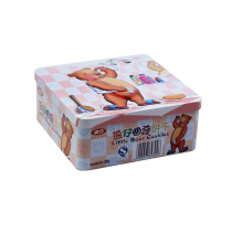 Square Tin Box for Biscuit, Handle Mold Shaped