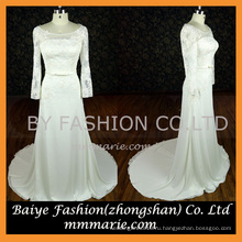 Платья для лодки вечера элегантный длинным рукавом кружева аппликация вечернее платье партии женщин платье с бантом узел