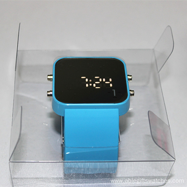 Touch screen wristwatch silicone mirror LED watches