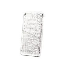 Funda para teléfono de piel de cocodrilo con ranura para tarjeta Glitter blanca