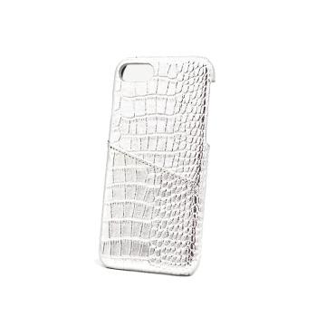 Capa de telefone branca do couro de crocodilo do entalhe de cartão do brilho