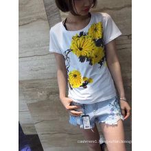 Summer Pure Chrysanthemum Printed Ladies Lovely T-Shirt