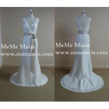Elegant Portrait V Neck Open Back Vestido de casamento nupcial Vestido de noite com arco de faixa BYB-14535