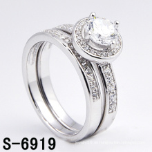 Mode 925 Silber Schmuck Micro Pave CZ Twin Ring (S-6919)