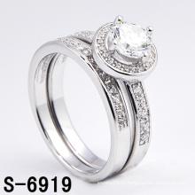 Moda 925 jóias de prata micro pave anel twin cz (s-6919)