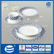 Factory Wholesale Hotel & Resturant Vaisselle en céramique, points sur décalcomanie bleu