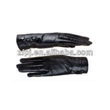 Fashion Black lady leather driving gloves with buttons