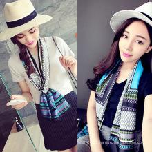 Lady Fashion Printed Satin Silk Magic Mutifunctional Collar Scarf (YKY1091-19)