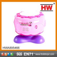 Высокое качество пластиковых розовых девочек игрушки музыкальных инструментов барабаны
