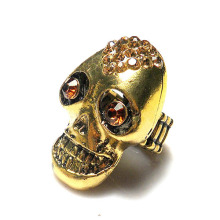 Retail&Wholesale vintage alloy metal skull head shape stretch ring, smoke topaz crystal rhinestone elastic ring,adjustable size