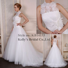 2014 Designers french lace lace mermaid wedding dress with high neck