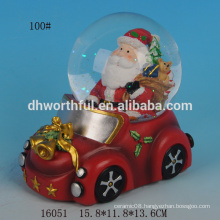2016 new christmas ornaments,resin water globe with santa claus in the car
