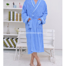 Sky Blue Terry Towelling Bathrobe With Border