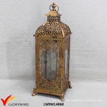 Weinlese-goldene Metallglas-Großhandelsmarokkanische Laterne
