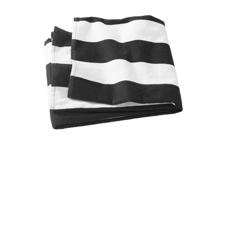 Rectangle Black White Striped Towel
