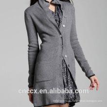 15STC3003 longo cardigan casaco de cashmere puro