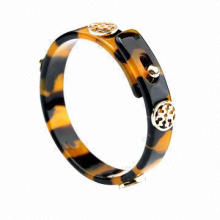 Statement Leopard Print Bangle, Made of Cellulose Acetate and Metal, OEM Orders are Accepted