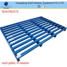 Paleta de metal azul galvanizado con entrada de 2 vías