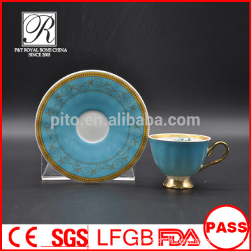 P&T chaozhou factory ,bule color glazed cups and saucers, arabic coffee cups
