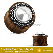 Weiße Perle Jeweled Messing Inlay Bio Holz Flesh Tunnel Ohrstöpsel