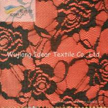 Tela do laço ligada com tecido de poliéster para o vestido das mulheres
