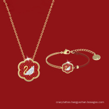 European American Gold Fashion Jewellery Jewelry Crystal Red String Swan Bracelet New Year Gift Necklace Bracelet for Women