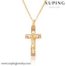 32424 Xuping moda pingente de cruz religiosa banhado a ouro 18k