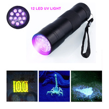 12LED UV-Taschenlampe UV-Geld-Detektor Licht Schwarzes Licht Griff Skorpion Licht