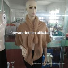 chal de cachemira de lujo de las señoras del diseño de la moda con la piel