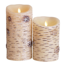 Birch Bark Remote Control Battery Operated Flickering Led Candles