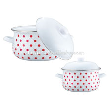 Enamelware soup pan pot with hollow handle and lid plastic knob with full decal