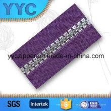 # 5 Plaqué En Argent Dents Large En Plastique Zipper Long Chaîne
