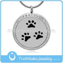 Pet Dog Paw Pingente Pure High Polishing 316L aço Inoxidável difusor jóias