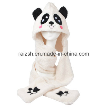 Panda Hats Scarves Gloves Three-Piece Integrally for Ladies