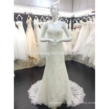 Los últimos diseños de sirena de encaje de lujo Appliqued vestido de novia sin mangas 2016 A067