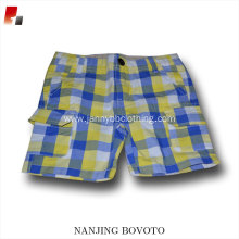 wholesale yellow white blue checked shorts