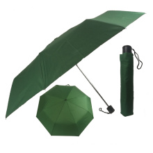 Best new invention in china light weight green color 3floding metal shaft umbrella with logo prints