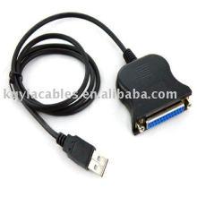 USB a la impresora DB25 Cable paralelo de la impresora 25Pin Cable de conexión del cable Adaptador IEEE 1284
