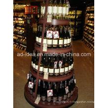 Support de Rack / exposition ronde de quatre couches pour le vin