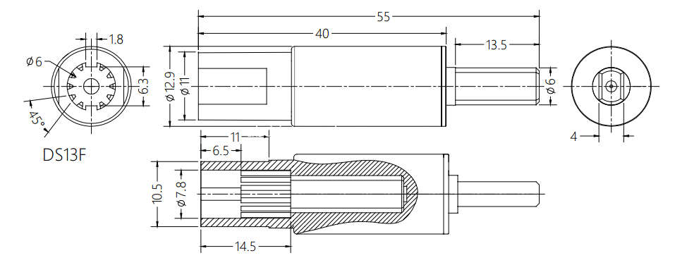 Roll Up Blinds Shaft Damper Drawing