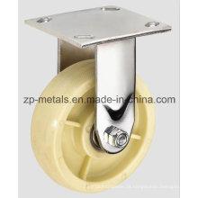 Roda de rodízio fixa de nylon branco resistente