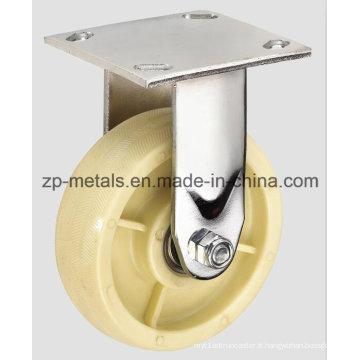 Roulette fixe robuste en nylon blanc