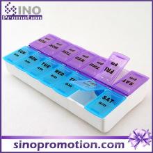 Medicamento decorativo personalizado caixa de comprimidos de plástico mensal Slide